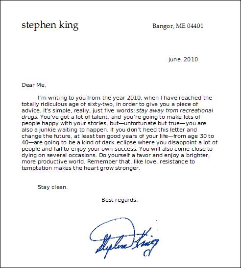 Lettre En Anglais: Stephen King's Letter To Teen King